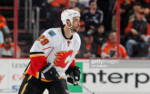 Deryk Engelland of the Calgary Flames skates against the Philadelphia Flyers on March 3 2015 at the Wells Fargo Center in Philadelphia Pennsylvania