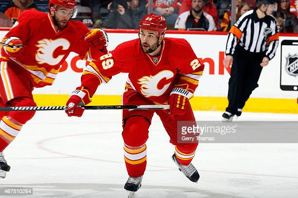 Deryk Engelland of the Calgary Flames skates against the Philadelphia Flyers at Scotiabank Saddledome on March 19 2015 in Calgary Alberta Canada...