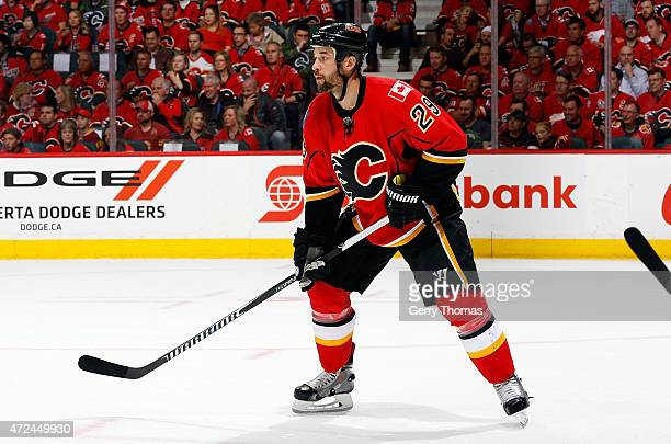 Deryk Engelland of the Calgary Flames skates against the Vancouver Canucks at Scotiabank Saddledome for Game Four of the Western Quarterfinals during...