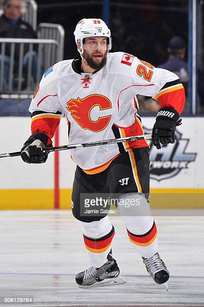 Deryk Engelland of the Calgary Flames skates during the second period of a game against the Columbus Blue Jackets on January 21 2016 at Nationwide...