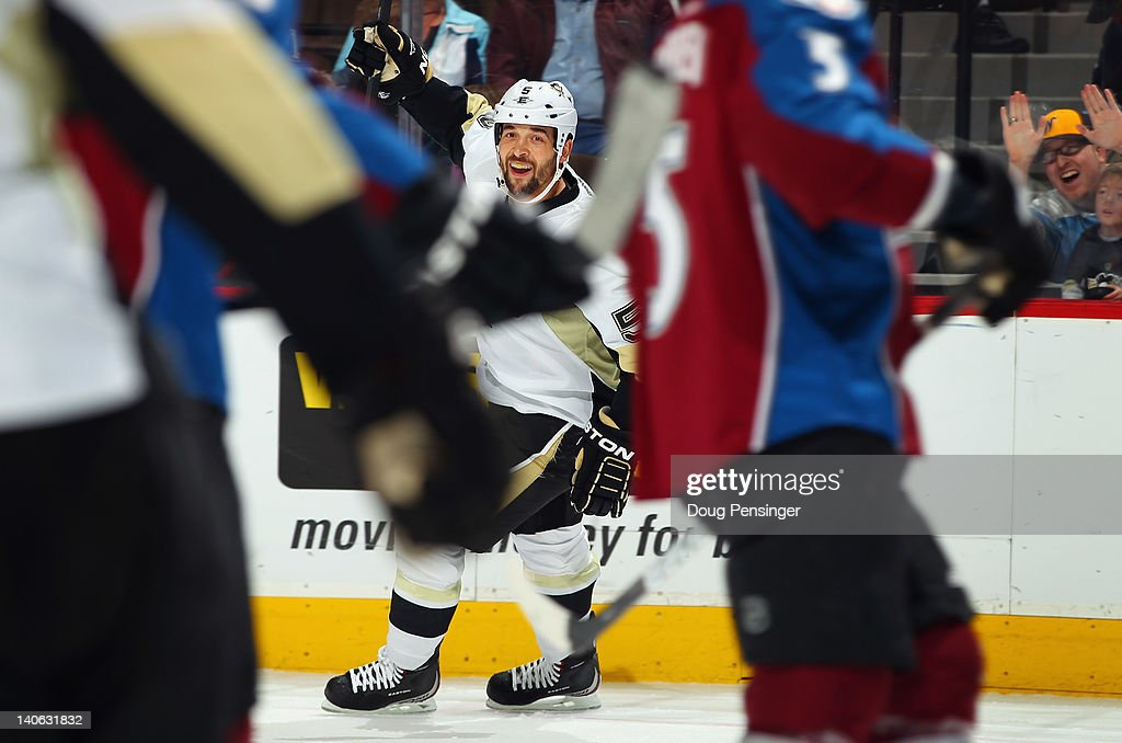 <a gi-track='captionPersonalityLinkClicked' href=/galleries/search?phrase=Deryk+Engelland&family=editorial&specificpeople=3390067 ng-click='$event.stopPropagation()'>Deryk Engelland</a> #5 of the Pittsburgh Penguins celebrates his goal to give the Penguins a 2-0 lead against the Colorado Avalanche in the first period at the Pepsi Center on March 3, 2012 in Denver, Colorado.