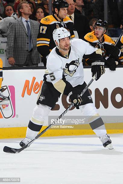 Deryk Engelland of the Pittsburgh Penguins skates against the Boston Bruins at the TD Garden on December 7 2013 in Boston Massachusetts