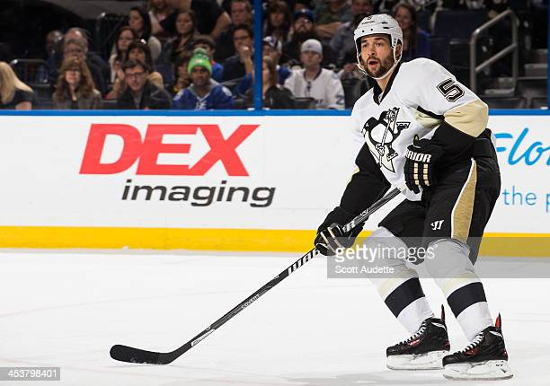 Deryk Engelland of the Pittsburgh Penguins skates against the Tampa Bay Lightning during the first period at the Tampa Bay Times Forum on November 29...
