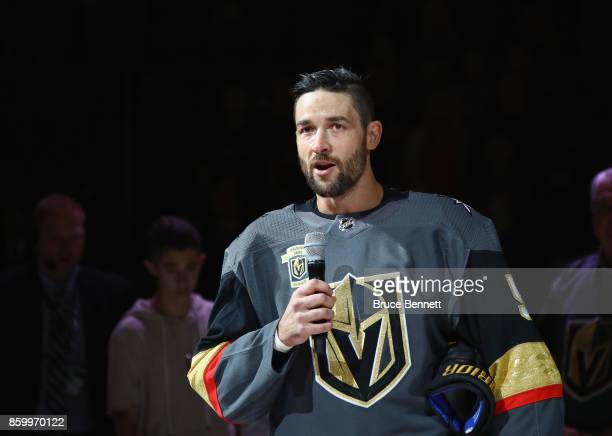 Deryk Engelland of the Vegas Golden Knights addresses the fans on the tradegy of the prior week in Las Vegas prior to the game between the Vegas...