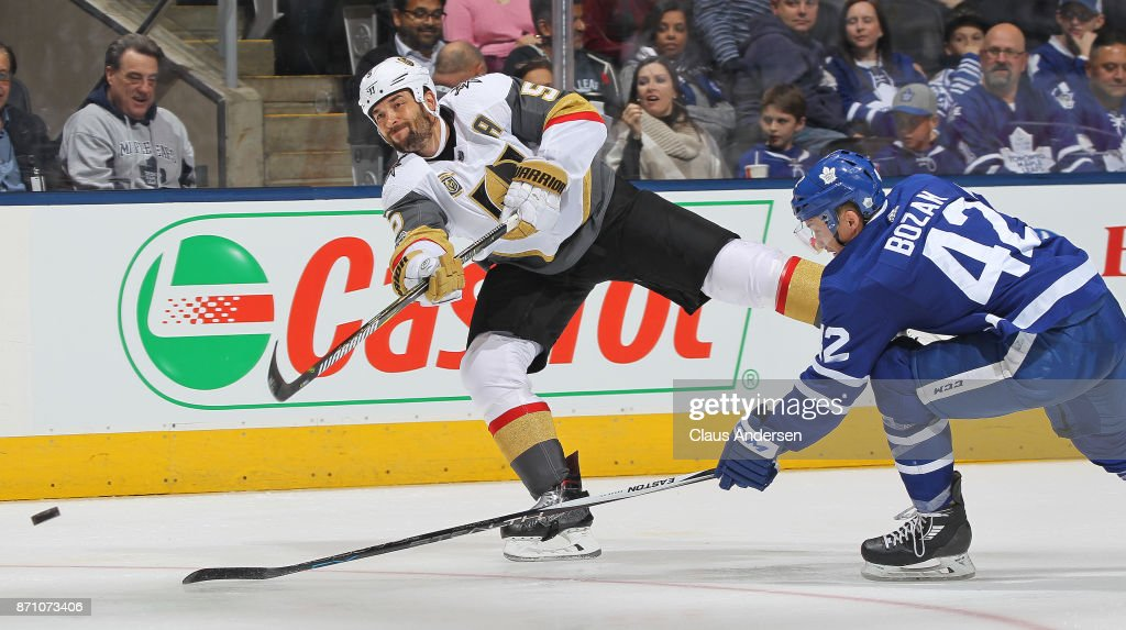 Deryk Engelland #5 of the Vegas Golden Knights shoots and scores against Frederik Andersen #31 (not shown) of the Toronto Maple Leafs during an NHL game at the Air Canada Centre on November 6, 2017 in Toronto, Ontario, Canada. The Maple Leafs defeated the Golden Knights 4-3 in an overtime shoot-out.