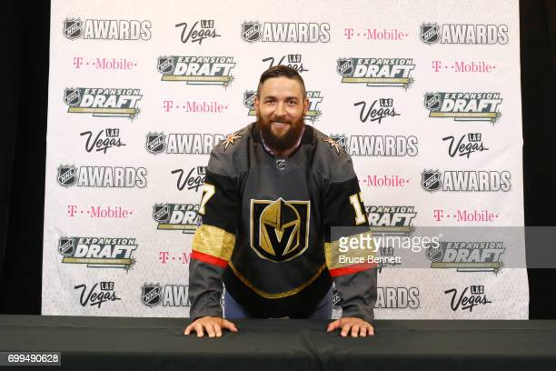 Deryk Engelland poses for a photo after being selected by the Las Vegas Golden Knights during the 2017 NHL Awards and Expansion Draft at TMobile...