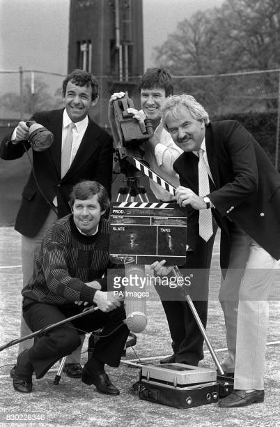 Des Lynam pictured with Brendan Foster Tony Jacklin and Emlyn Hughes at the launch of the BBC Television presenters for the forthcoming season of...