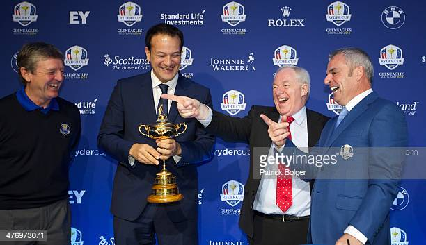 Des Smyth European Ryder Cup ViceCaptain Leo Varadkar Minister for Transport Tourism and Sport Michael Ring Minister of State for Tourism and Sport...