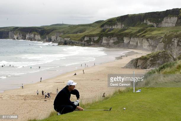 Des Smyth of Ireland lines up his third shot from the back edge of the 6th green perilously close to the cliff edge during the final round of the...