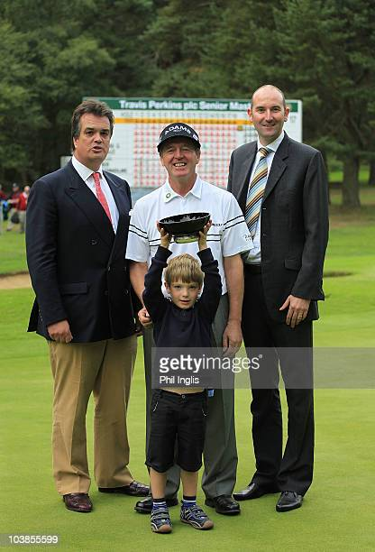 Des Smyth of Ireland with the Duke of Bedford and his son Harry and also Jason O'Malley General manager Woburn Golf Club after the final round of the...