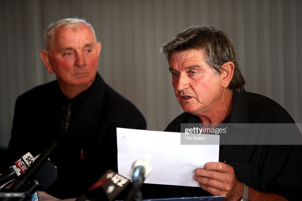 Des Thomas (R) holds police documents alongside his brother Arthur Allan Thomas (L) during a press conference at the Pukekawa Hall on April 10, 2013 in Auckland, New Zealand. Arthur Allan Thomas was pardoned for the 1970 murder of Jeanette and Harvey Crewe and addressed the media following comments recently regarding the integrity of the late police prosecutor Bruce Hutton.