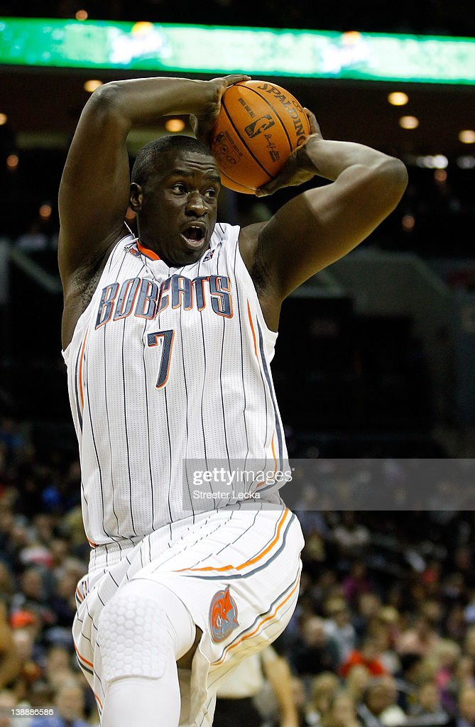 DeSagana Diop #7 of the Charlotte Bobcats during their game at Time Warner Cable Arena on February 10, 2012 in Charlotte, North Carolina.