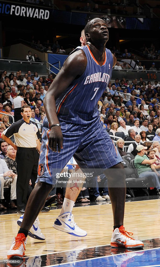 <a gi-track='captionPersonalityLinkClicked' href=/galleries/search?phrase=DeSagana+Diop&family=editorial&specificpeople=213233 ng-click='$event.stopPropagation()'>DeSagana Diop</a> #7 of the Charlotte Bobcats looks at the basket during a game against the Orlando Magic on October 14, 2010 at Amway Center in Orlando, Florida.