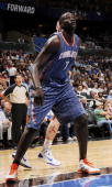 DeSagana Diop of the Charlotte Bobcats looks at the basket during a game against the Orlando Magic on October 14 2010 at Amway Center in Orlando...