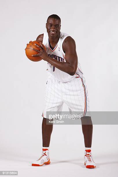 DeSagana Diop of the Charlotte Bobcats poses for a portrait during 2009 NBA Media Day at Time Warner Cable Arena on September 28 2009 in Charlotte...
