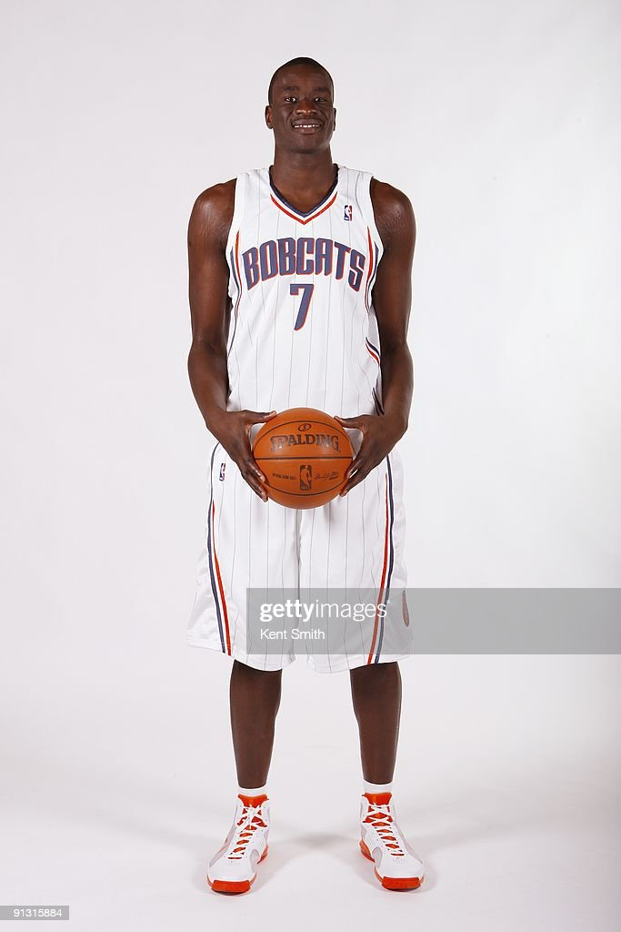 <a gi-track='captionPersonalityLinkClicked' href=/galleries/search?phrase=DeSagana+Diop&family=editorial&specificpeople=213233 ng-click='$event.stopPropagation()'>DeSagana Diop</a> #7 of the Charlotte Bobcats poses for a portrait during 2009 NBA Media Day at Time Warner Cable Arena on September 28, 2009 in Charlotte, North Carolina.