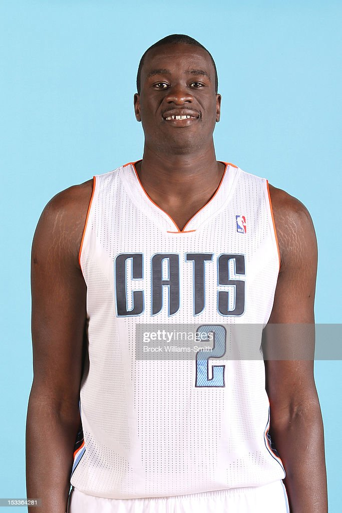 <a gi-track='captionPersonalityLinkClicked' href=/galleries/search?phrase=DeSagana+Diop&family=editorial&specificpeople=213233 ng-click='$event.stopPropagation()'>DeSagana Diop</a> #2 of the Charlotte Bobcats poses for photo during media day on October 1, 2012 at the Time Warner Cable Arena in Charlotte, North Carolina.