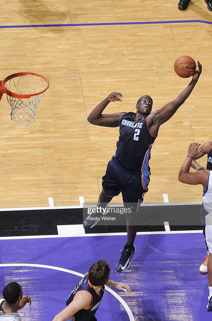 DeSagana Diop #2 of the Charlotte Bobcats rebounds against the Sacramento Kings on March 3, 2013 at Sleep Train Arena in Sacramento, California.