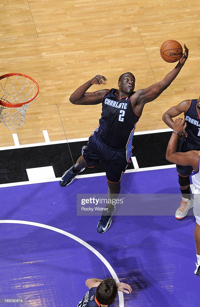 DeSagana Diop #2 of the Charlotte Bobcats rebounds against the Sacramento Kings on March 3, 2013 at Sleep Train Arena in Sacramento, California.