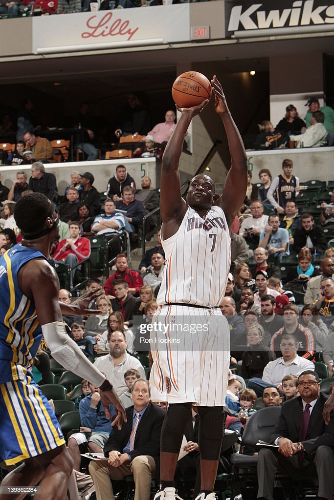 DeSagana Diop #7 of the Charlotte Bobcats shoots against the Indiana Pacers on February 19, 2012 at Bankers Life Fieldhouse in Indianapolis, Indiana.