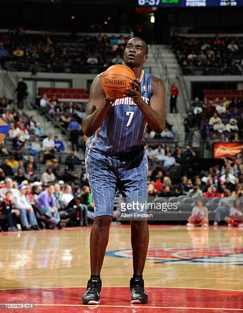 DeSagana Diop of the Charlotte Bobcats stands at the free throw line during a game against the Detroit Pistons on November 5 2010 at The Palace of...