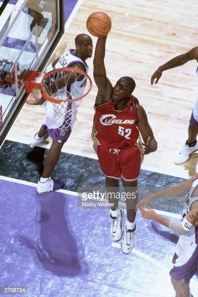 DeSagana Diop of the Cleveland Cavaliers goes up for a slam dunk against the Sacramento Kings at the Arco Arena on October 29 2003 in Sacramento...