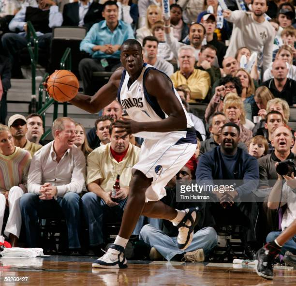 DeSagana Diop of the Dallas Mavericks looks up court to throw the outlet pass against the Houston Rockets on November 22 2005 at American Airlines...