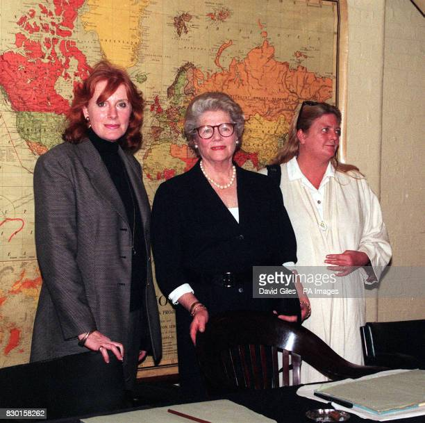Descendents of Sir Winston Churchill Celia Sandys Lady Soames and Arabella Churchill at the Cabinet War Rooms for the launch of Anglia TV's 3part...