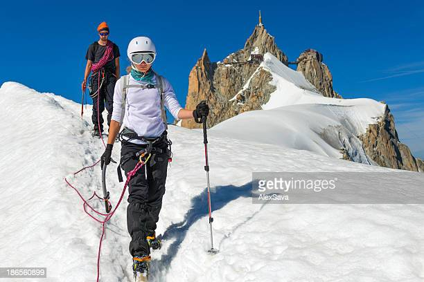Descending from Aigulle du Midi