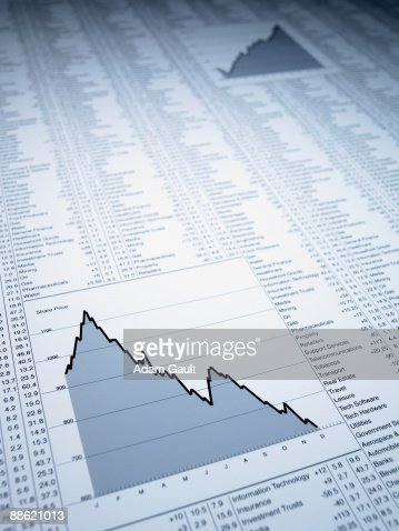 Descending line graph and list of share prices : Stock Photo