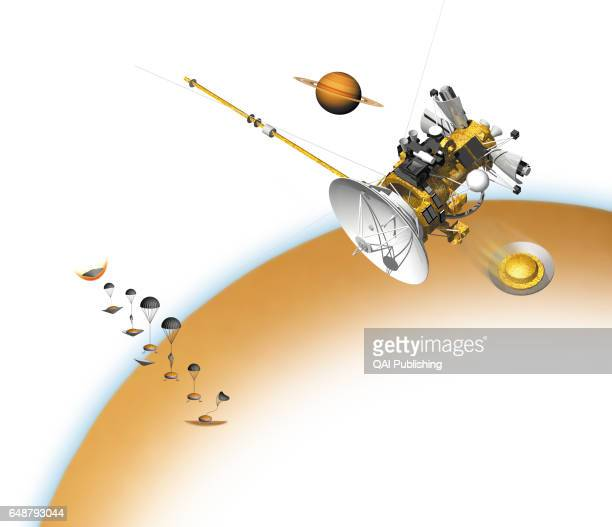 Descent into Titan's opaque atmosphere December 2004 the Huygens probe has entered into Titan's atmosphere and has deployed its pilot parachute At...