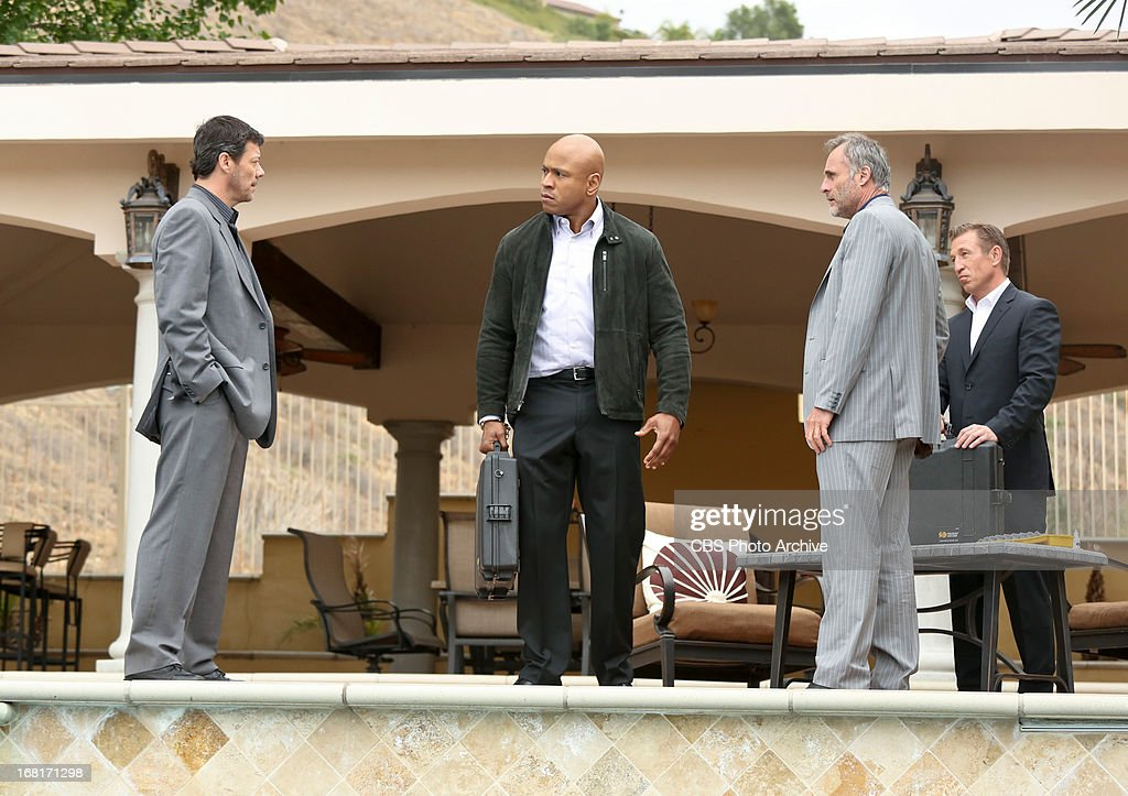 "'Descent'"" Pictured (L-R): Massi Furlan (Mikhail Andros), LL COOL J (Special Agent Sam Hanna), Timothy V. Murphy (Isaak Sidorov) and Pasha Lychnikoff (Michael Zhrov). An explosion in the desert rekindles the search for stolen nuclear weapons and prompts Hetty to shuffle the"