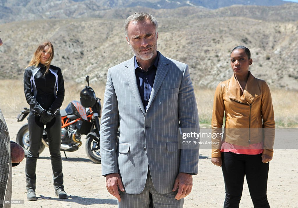 """'Descent' '"""" Pictured (L-R): Natasha Alam (Veronica Pisconov), Timothy V. Murphy (Isaak Sidorov) and Aunjanue Ellis (Michelle Hanna). An explosion in the desert rekindles the search for stolen nuclear weapons and prompts Hetty to shuffle the"""