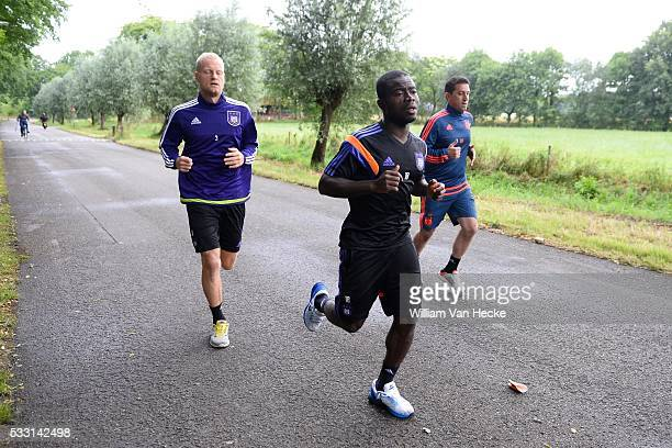 Deschacht Olivier defender of Rsc Anderlecht and Acheampong Frank forward of Rsc Anderlecht and Besnik Hasi head coach of Rsc Anderlecht pictured...