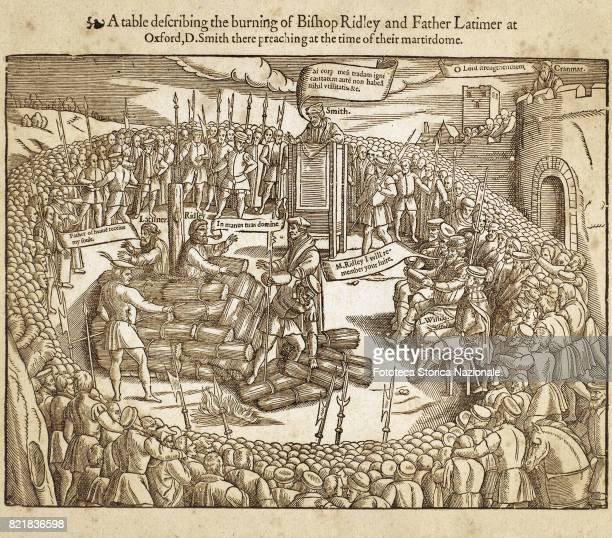 Descriptive table of the execution of Bishop Nicholas Ridley and Father Hugh Latimer preacher reformer condemned by Mary Tudor to die at the stake at...