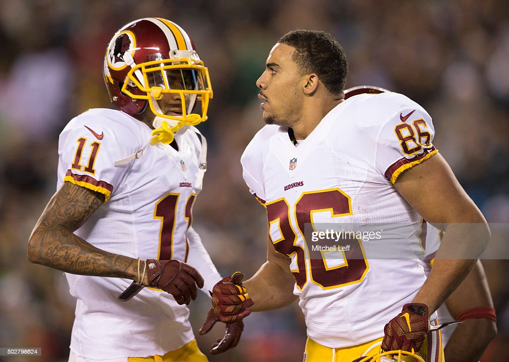 <a gi-track='captionPersonalityLinkClicked' href=/galleries/search?phrase=DeSean+Jackson&family=editorial&specificpeople=2212775 ng-click='$event.stopPropagation()'>DeSean Jackson</a> #11 and <a gi-track='captionPersonalityLinkClicked' href=/galleries/search?phrase=Jordan+Reed&family=editorial&specificpeople=6893664 ng-click='$event.stopPropagation()'>Jordan Reed</a> #86 of the Washington Redskins react in the game against the Philadelphia Eagles on December 26, 2015 at Lincoln Financial Field in Philadelphia, Pennsylvania.