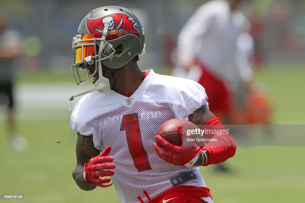 DeSean Jackson (1) makes a catch and spins to run upfield during the Tampa Bay Buccaneers Minicamp on June 14, 2017 at One Buccaneer Place in Tampa, Florida.