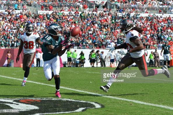 DeSean Jackson of the Philadelphia Eagles catches a pass for a touchdown between Dashon Goldson and Mark Barron of the Tampa Bay Buccaneers at...