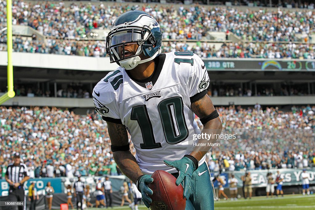 <a gi-track='captionPersonalityLinkClicked' href=/galleries/search?phrase=DeSean+Jackson&family=editorial&specificpeople=2212775 ng-click='$event.stopPropagation()'>DeSean Jackson</a> #10 of the Philadelphia Eagles celebrates after scoring a touchdown during a game against the San Diego Chargers on September 15, 2013 at Lincoln Financial Field in Philadelphia, Pennsylvania. The Chargers won 33-30.