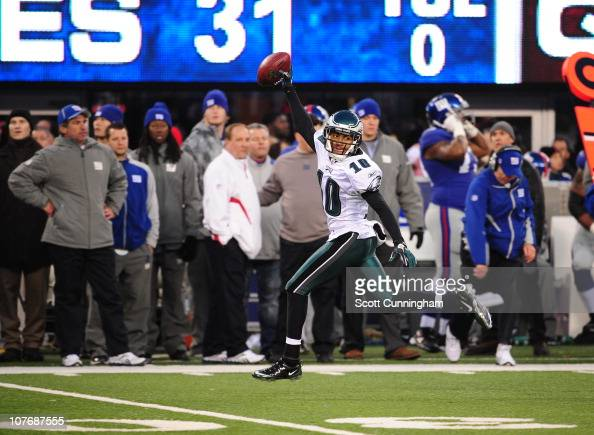 DeSean Jackson of the Philadelphia Eagles returns a punt for a touchdown to win the game against the New York Giants at the New Meadowlands Stadium...