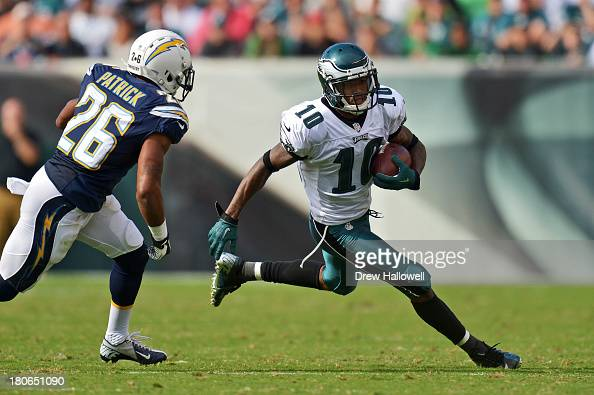 DeSean Jackson of the Philadelphia Eagles runs past Johnny Patrick of the San Diego Chargers at Lincoln Financial Field on September 15 2013 in...