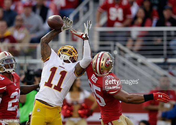 DeSean Jackson of the Washington Redskins breaks up a pass intended for Jimmie Ward of the San Francisco 49ers at Levi's Stadium on November 23 2014...