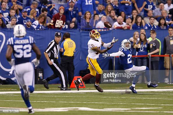 DeSean Jackson of the Washington Redskins makes a 42yard touchdown reception in front of Josh Gordy of the Indianapolis Colts in the third quarter of...