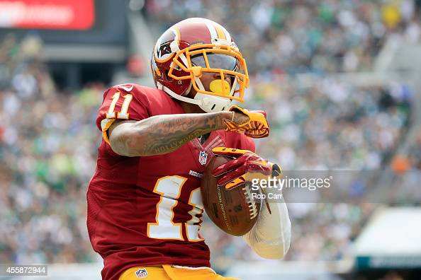 DeSean Jackson of the Washington Redskins reacts after catching a firstdown pass in the first quarter against the Philadelphia Eagles at Lincoln...