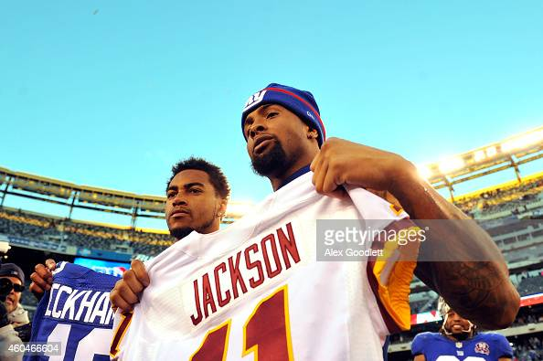 DeSean Jackson of the Washington Redskins trades jerseys with Odell Beckham Jr #13 of the New York Giants after their game at MetLife Stadium on...