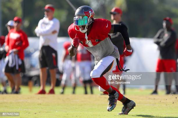 DeSean Jackson takes off from the line of scrimmage during the Tampa Bay Buccaneers Training Camp on August 2017 at One Buccaneer Place in Tampa...