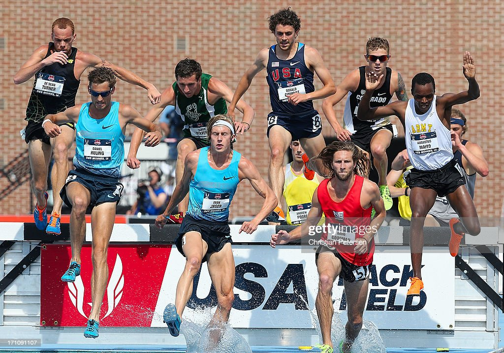 De'Sean Turner, Daniel Huling, Tabor Stevens, Evan Jager, Donald Cowart, David Goodman and Augustus Maiyo compete in the Men's 3000 Meter Steeplechase on day two of the 2013 USA Outdoor Track & Field Championships at Drake Stadium on June 21, 2013 in Des Moines, Iowa.