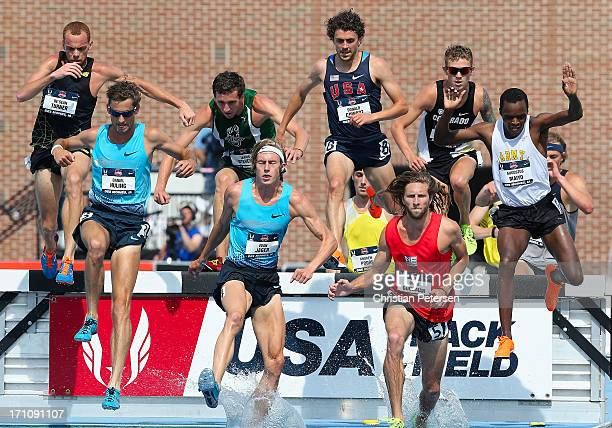 De'Sean Turner Daniel Huling Tabor Stevens Evan Jager Donald Cowart David Goodman and Augustus Maiyo compete in the Men's 3000 Meter Steeplechase on...