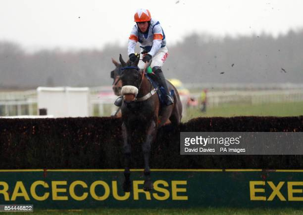 Desert Cry ridden by Jason Maguire in the Free Racing Tips Graduation Chase during the Festive Fun at Exeter Raceday at Exeter Racecourse