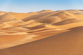 """Desert Sand Dunes in late afternoon light to the horizon. Rub al-Khali Desert, United Arab Emirates - Saudi Arabia."""